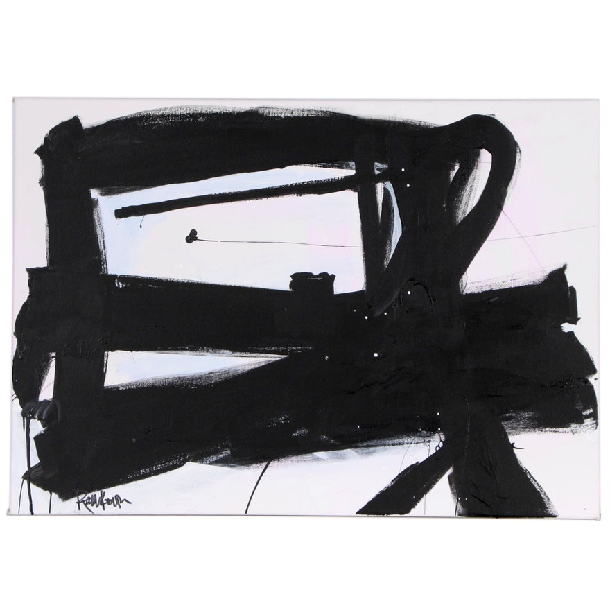 """Robbie Kemper Abstract Acrylic Painting """"Black Marks on Light Pastels"""""""