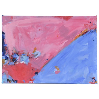 "Robbie Kemper Abstract Acrylic Painting ""Blue Pink on Diagonal"""
