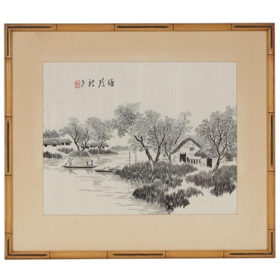 East Asian Landscape Watercolor Painting on Silk