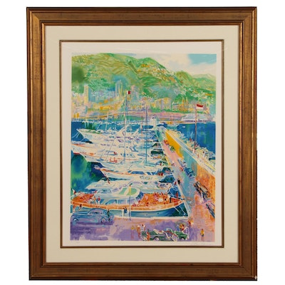"LeRoy Neiman Serigraph ""Harbor at Monaco"", 1988"