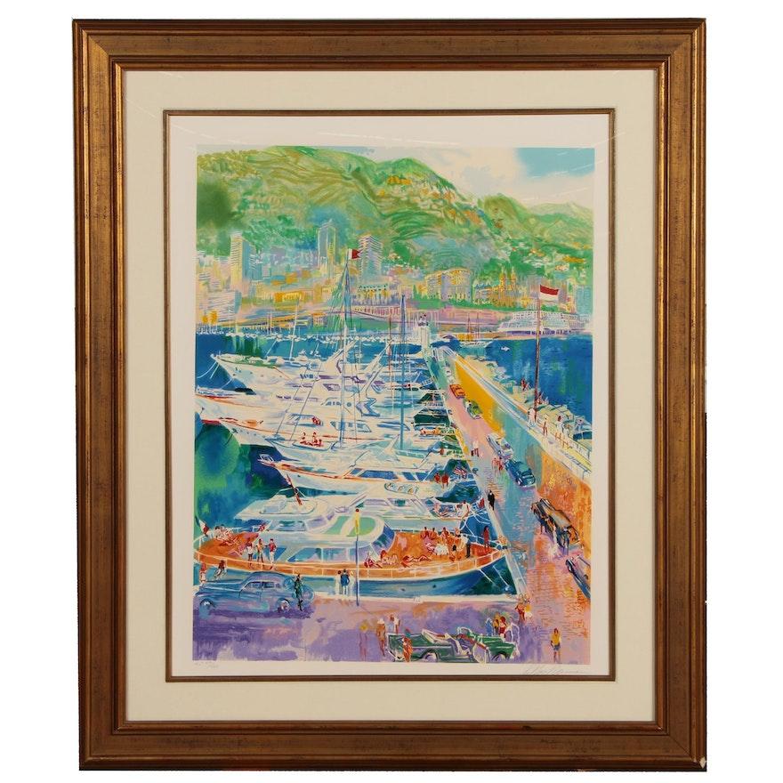 "LeRoy Neiman Serigraph ""Harbor at Monaco"", 1988"