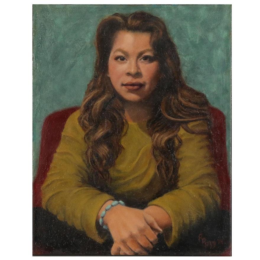 Rita Rozzi Oil Portrait of Woman in Green