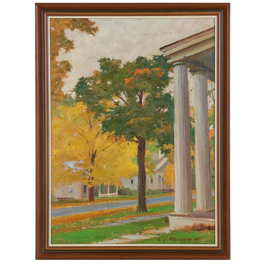 Edmond J. Fitzgerald Oil Painting of Manchester, Vermont with Letter from Artist