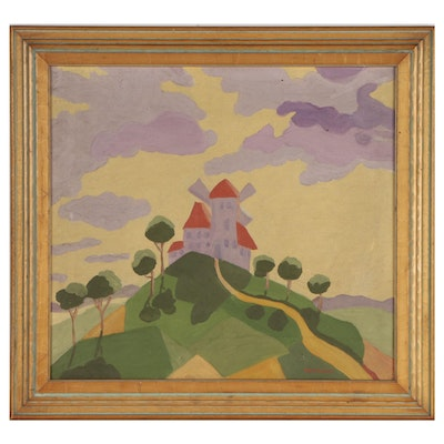Modern Oil Painting of Hillside Windmill Landscape, Mid-20th Century