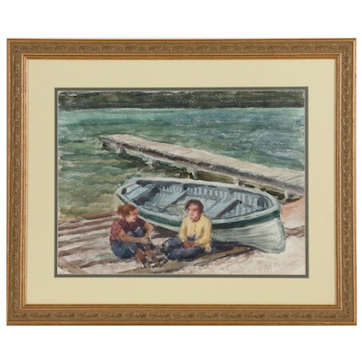 Mary McMath Watercolor Painting of Rowboat and Figures