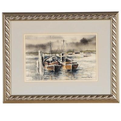 Robert Fabe Watercolor Painting of Boats at Mooring