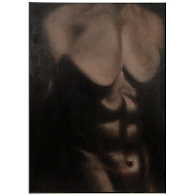 "Rita Rozzi Oil Painting ""Male Nude Torso"""