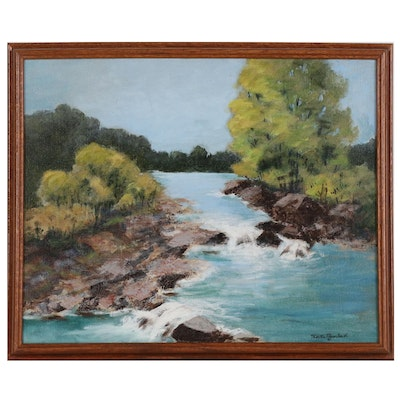 "Martha Payne Smith Acrylic Painting ""Wooded Lake"""