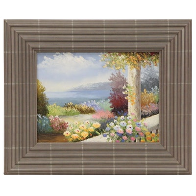 Coastal Floral Landscape Oil Painting