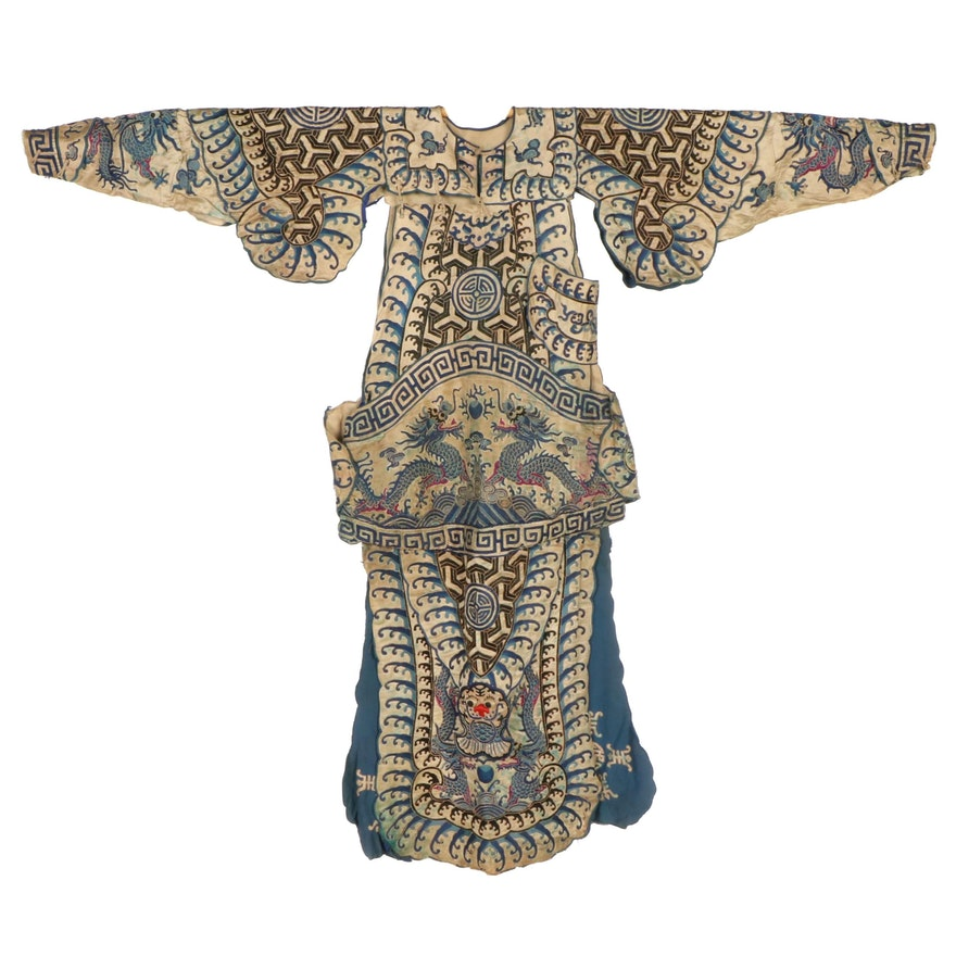 Chinese Embroidered Silk Wusheng Warrior Theatrical Costume, Qing Dynasty Period