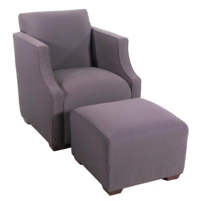 High Point Gray Upholstered Chair and Ottoman