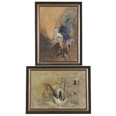 Ari Arad City Scene Gouache Paintings, Mid to Late 20th Century