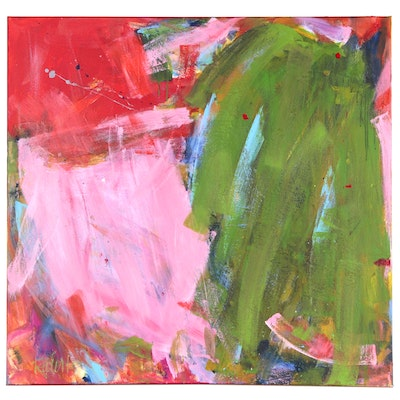 "Robbie Kemper Abstract Acrylic Painting ""Big Pink Green Orange Painting"""