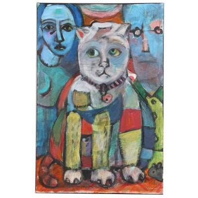 "Melissa Bollen Acrylic Painting ""The Cat Came Between Us"""