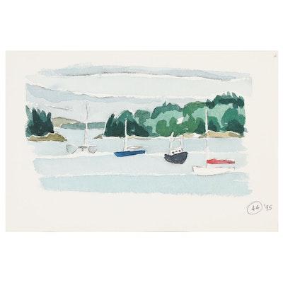 Robert Herrmann Watercolor Painting of Sailboats, 1995