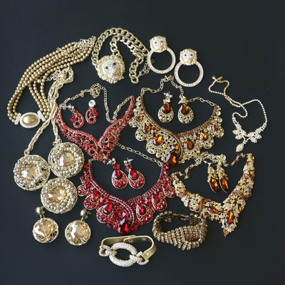 Collection of Rhinestone Statement Necklaces and Earrings