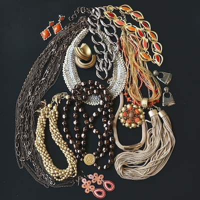 Collection of Beaded Jewelry Featuring Anne Klein and Faux Pearls
