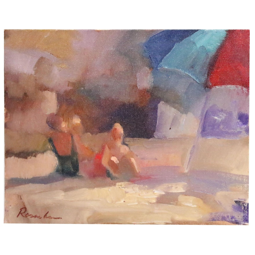 Sally Rosenbaum Impressionist Style Oil Painting of People at the Beach
