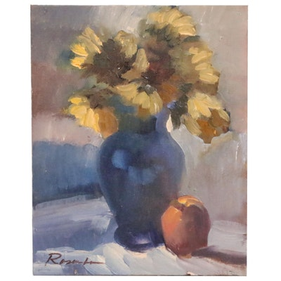 Sally Rosenbaum Still Life Oil Painting of Flowers, 21st Century
