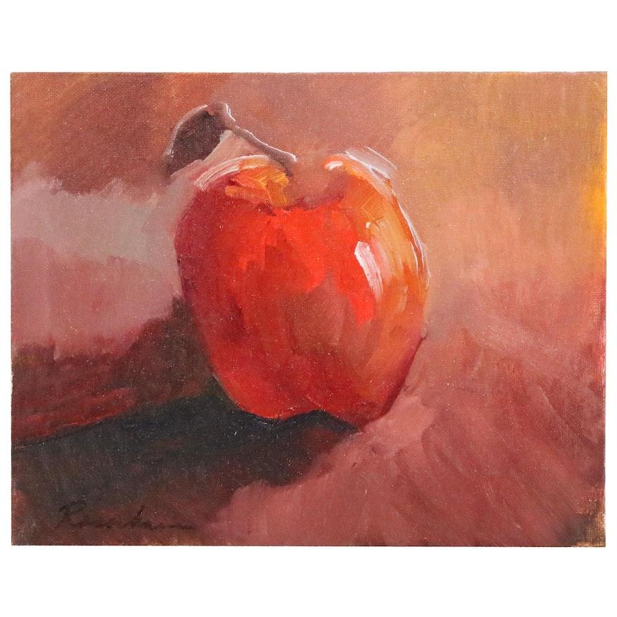 Sally Rosenbaum Still Life Oil Painting of an Apple