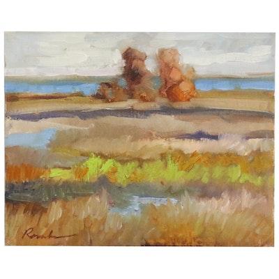 Sally Rosenbaum Oil Painting of an Abstract Beach Scene