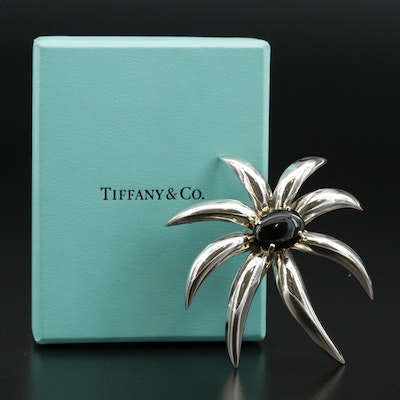 Circa 1995 Tiffany & Co. Sterling Black Onyx Fireworks Brooch With 18K Accents