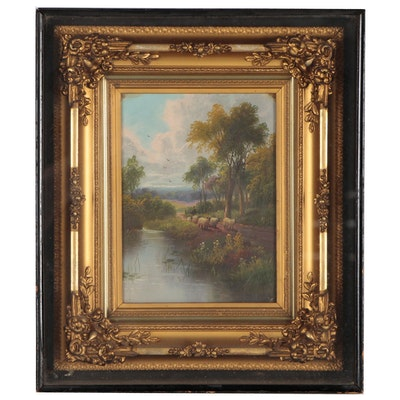 Pastoral Genre Scene Oil Painting, Early 20th Century