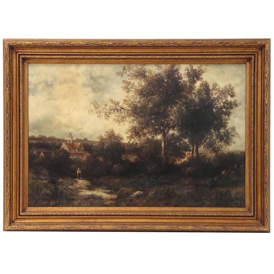 Pastoral Landscape Oil Painting, Late 20th Century