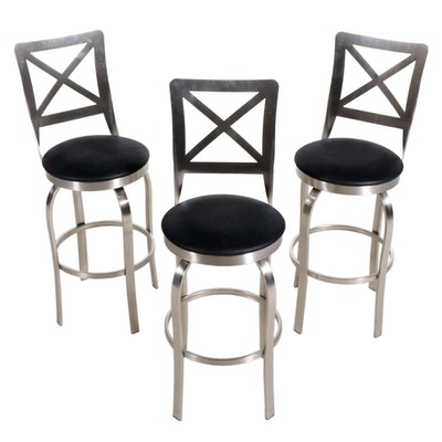 Three Trica Contemporary Brushed Metal Barstools