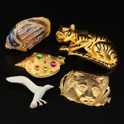 Assorted Wildlife Themed Brooches and Trinket Box Featuring Park Lane