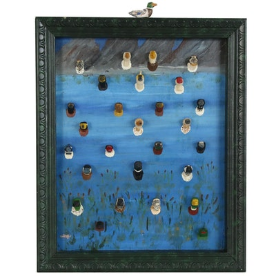Marius Jensen Folk Art Painted Wood Carving Shadowbox of Bird Heads