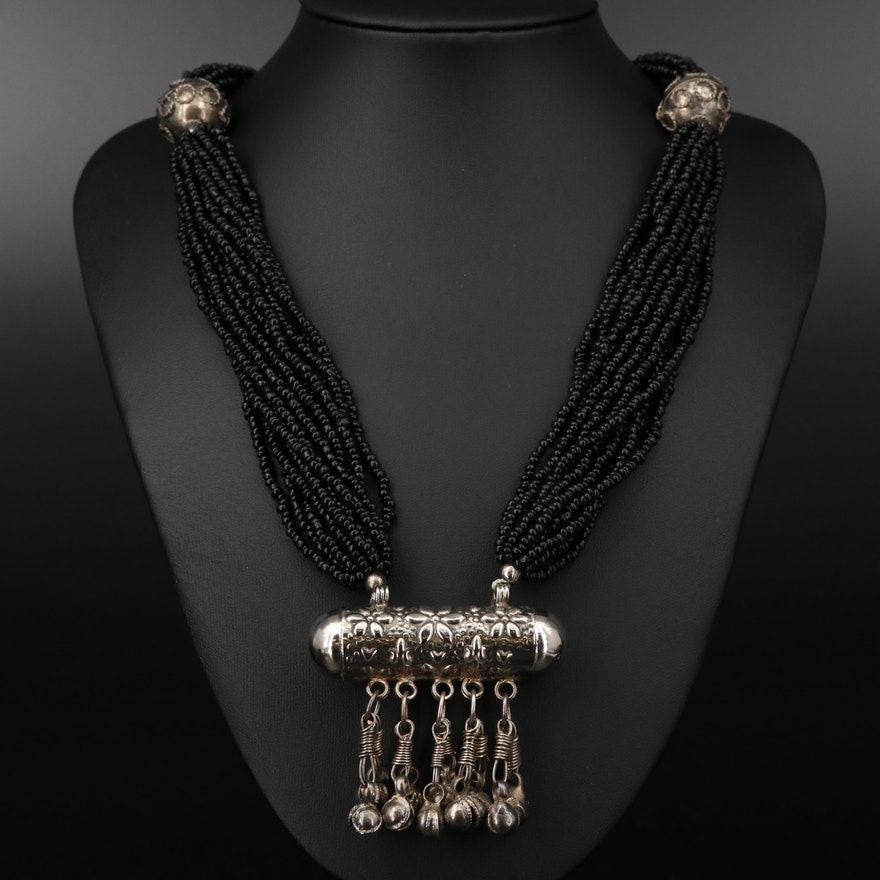 Bell Bar Pendant on Black Glass Beaded Multi-Strand Necklace