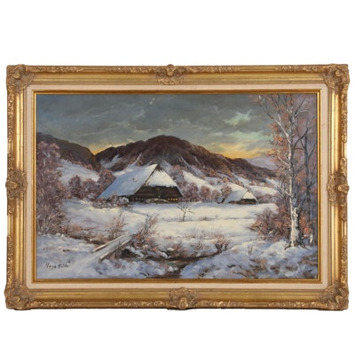 Hugo Müller Winter Landscape Oil Painting, Mid to Late 20th Century