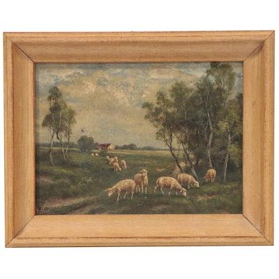 Gustav Klatt Pastoral Oil Painting, 1911
