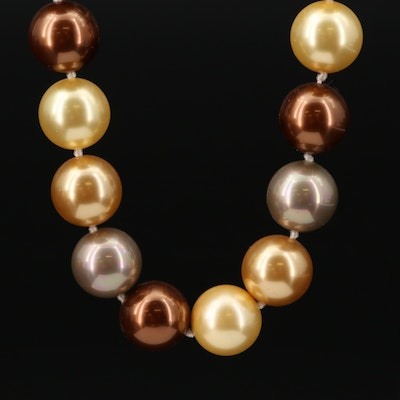 Hand Knotted Faux Pearl Strand Necklace