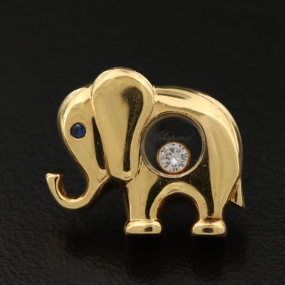 18K Gold Chopard Elephant Lapel Pin with Sapphire and Moving 'Happy 'Diamond'