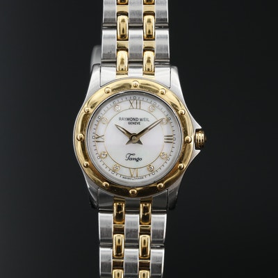 Raymond Weil Tango 18K Gold Plate and Stainless Steel with Diamond Dial Watch