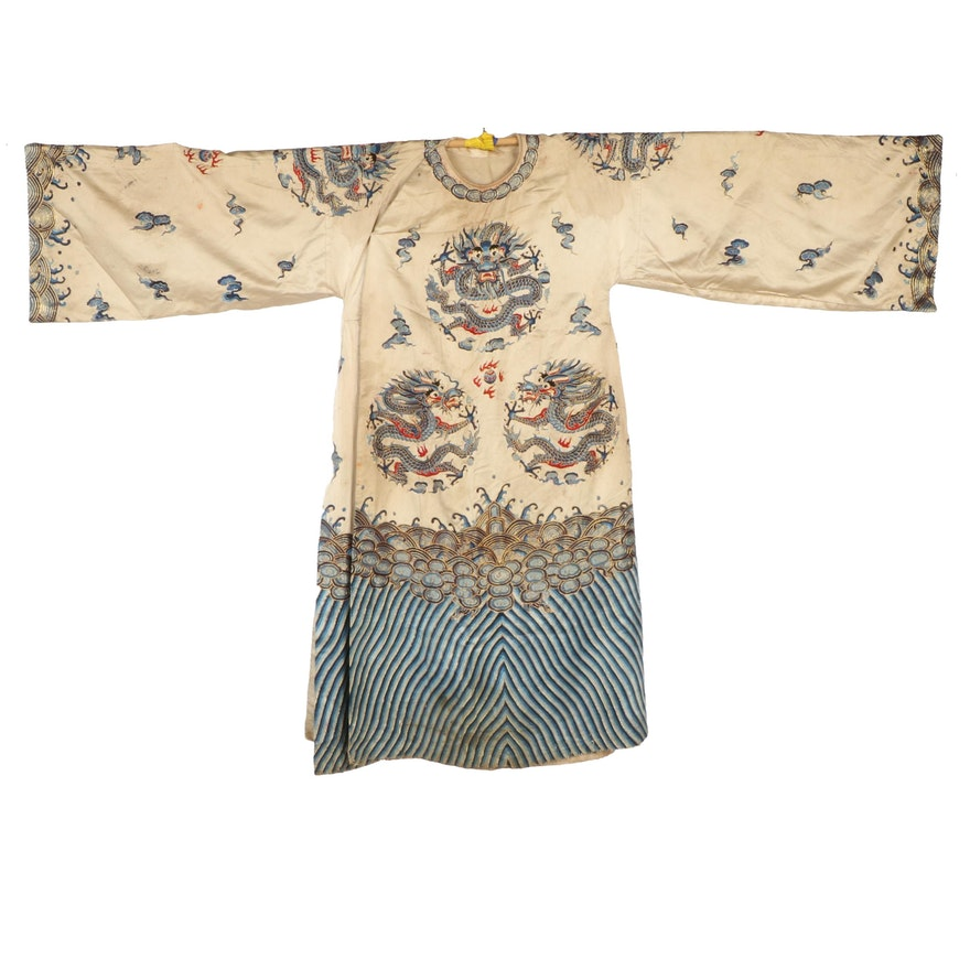 Chinese Embroidered Silk Robe with Four-Clawed Dragons, Qing Dynasty Period