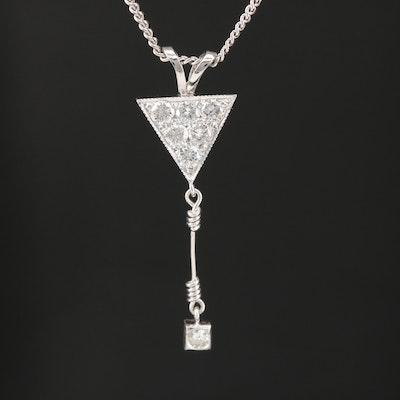 14K Diamond Drop Necklace
