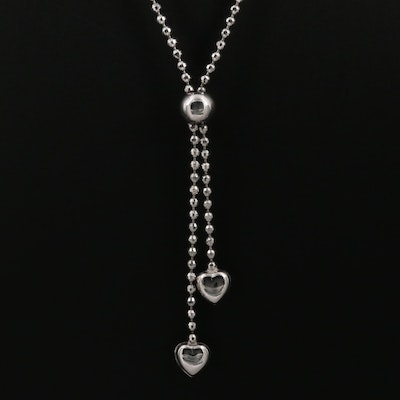 14K White Gold Sparkle Cut Puffy Heart Negligee Necklace