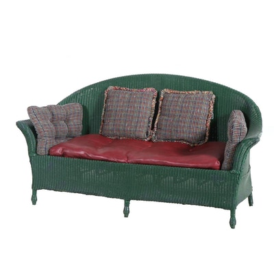 Green Painted Twisted Cord Wicker Sofa, Early 20th Century