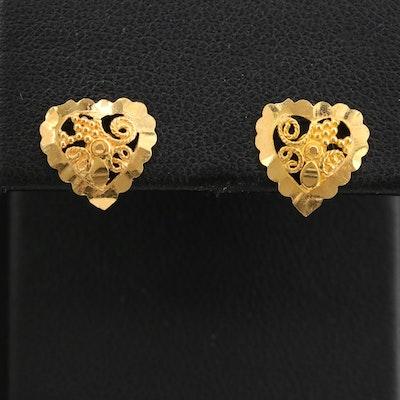 22K Heart Stud Earrings