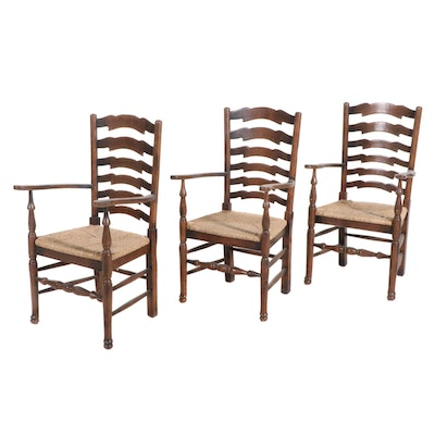 Ladderback Armchairs with Woven Grass Seats, Set of Three, Late 19th Century