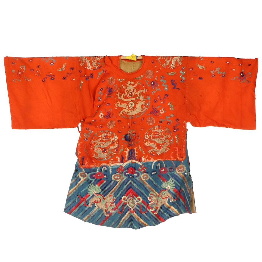 Chinese Embroidered Four-Clawed Dragon and Guardian Lion Wool Robe, Antique