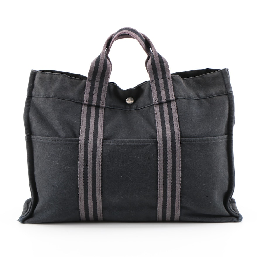 Hermès Fourre Tout MM Tote Bag in Black/Gray Canvas