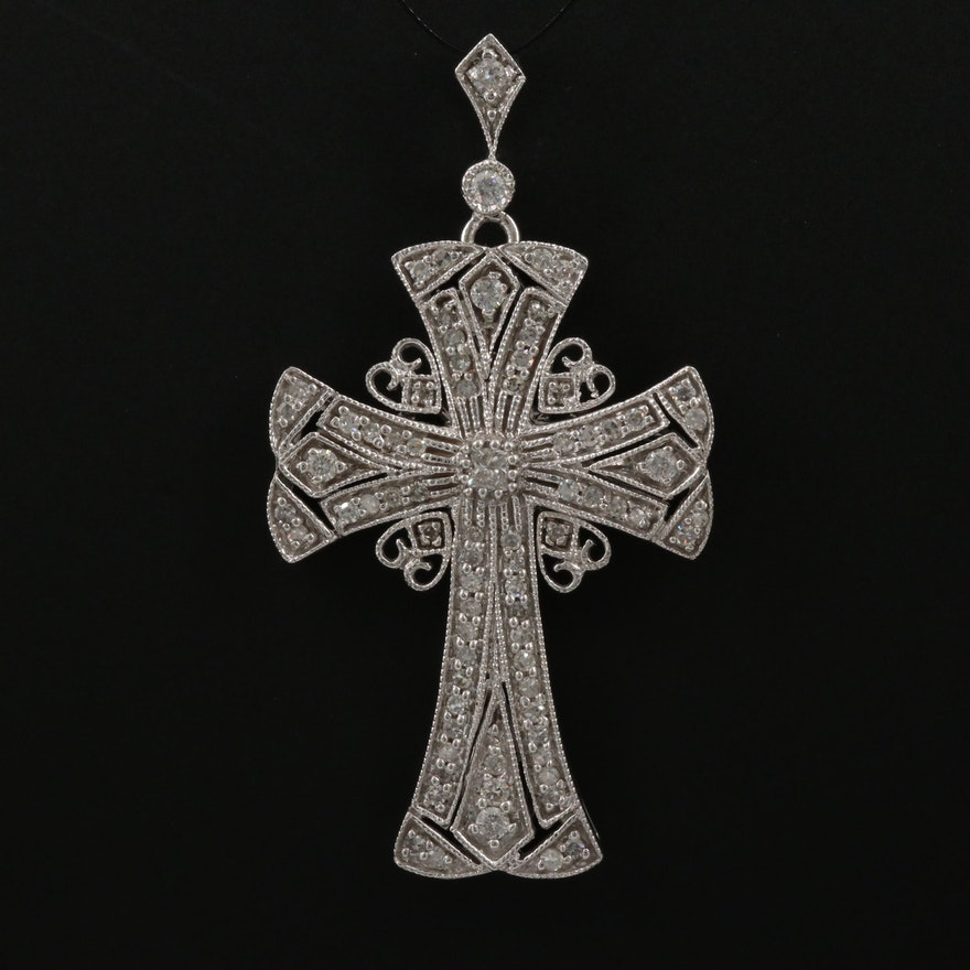 14K 1.18 CTW Diamond Cross Pendant