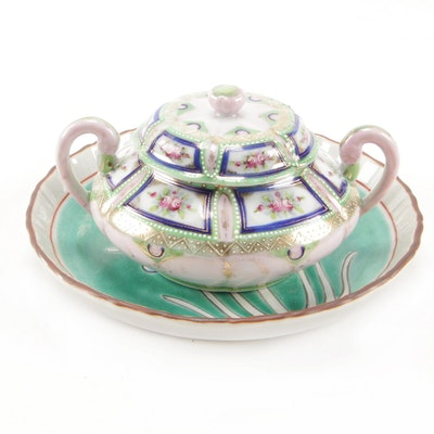 East Asian Hand-Painted Porcelain Plate and Sugar Bowl, Early to Mid-20th C.