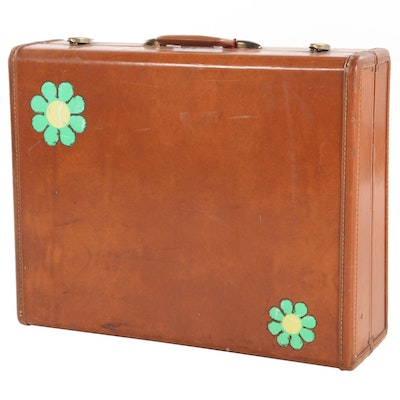 Samsonite Leather Hard Case Suitcase with Flower Sticker Accents, Vintage