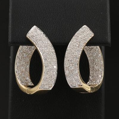 14K Diamond Inside Out Hoop Earrings