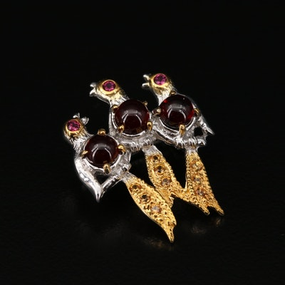 Sterling Silver Garnet, Sapphire and Rhodolite Garnet Bird Brooch